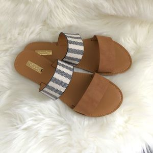 Camel/Stripped Double Band Sandals